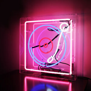 """Records Neon Sign Light Acrylic Box for Bedroom Wall Hanging Desk Lamp Gift 14"""""""