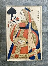 Carte à jouer ancienne vers 1817 : Pallas / Dame de Pique
