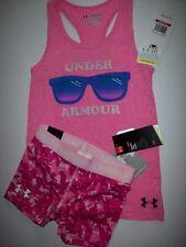 Under Armourt Heat Gear 2pc Girls YXS Muscle Shirt Shorts Camouflage Pink Shorty