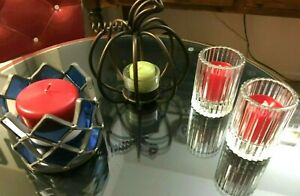 1-Silver Metal & Blue Stained Glass Tiles/Apple Scupture Candle Holder + CANDLES