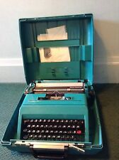 VTG Olivetti Studio 45 Teal Green Typewriter In Original Case With Papers Great!