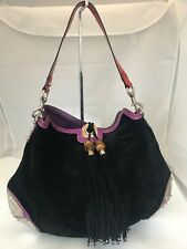 GUCCI 130218 SUEDE BLACK INDY HOBO W/BAMBOO TASSELS PURPLE/RED TRIM BAG