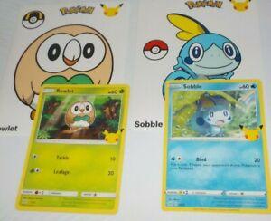 2021 McDonalds Pokemon 25th anniversary Sobble #24 & Rowlet #7 + stickers.