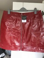 Topshop tall red cracked vinyl zip mini skirt, UK size 16, new with tags