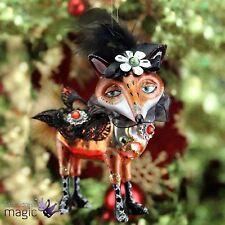 Gisela Graham Retro Glass Dressed Fox Glitter Christmas Tree Decoration Ornament