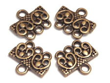 TWO SETS 3 HOLE LINK, END BAR OR CLASP CONNECTOR ANTIQUED BRASS PLATED FINDINGS