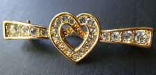 vintage clear rhinestone love heart knot gold tone brooch -R328