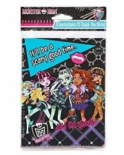 MH Monster High 8 Invitations & 8 Thank You Cards Birthday Party Supplies