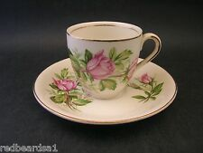 ALFRED MEAKIN Vintage English China DEMITASSE COFFEE CUP SAUCER Pink Rose c1940s