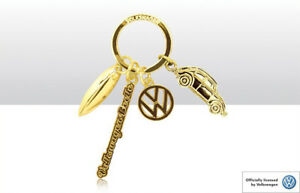 NEW OFFICIAL VW VOLKSWAGEN BEETLE METAL GOLD CHARM KEYRING KEYCHAIN