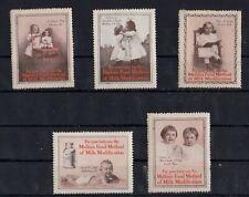 Cinderella Advertising Stamp USA Mellin's Food Method for Milk Mod Set of 5  -az