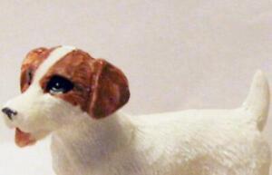 Jack Russell Pet Dog HOXZ501 Heidi Ott White Brown Ears Dollhouse Miniature