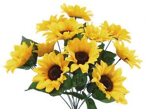 "YELLOW Sunflowers Bush Satin Artificial Flowers 19"" Bouquet 11-4664 YL"