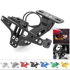 Motorcycle Adjustable CNC License Number Plate Holder Bracket + LED Light Set