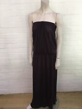 by Malene Birger gathered linen maxi dress in brown Size S Small