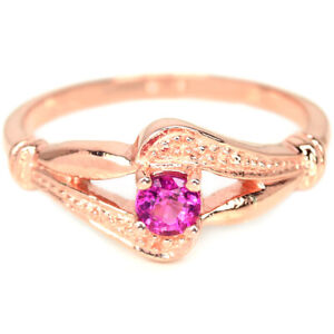 NATURAL AAA PINK TOURMALINE ROUND STERLING 925 SILVER RING SIZE 8.25