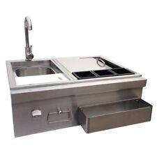 Stainless Steel Outdoor Kitchen BBQ Island Beverage Bar Center Sink Ice Chest