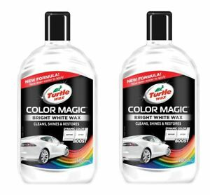 Turtle Wax Color Magic Car Paintwork Polish Restores Faded 2 x 500ml White