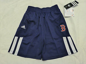 NWT LITTLE KIDS BOYS ADIDAS BOSTON RED SOX ATHLETIC GYM SHORTS NAVY/WHITE 86TWB