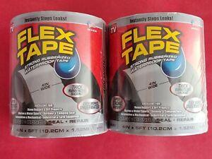 """2 - Flex Tape Rubberized Waterproof Tape, 4"""" x 5', Gray ~ Patch Bond Seal Repair"""
