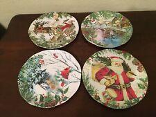"""Michel Design Works Christmas Joy 8"""" Salad Plate Melamine Set Of 4"""