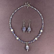 Purple Fir Tree Necklace Earrings Set Spruce Pine Woods Silver Stars Murano Bead