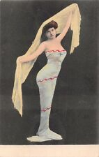 MEXICAN ? WOMAN IN TIGHT FITTING WRAP DRESS HOLDING REBOZO REAL PHOTO POSTCARD