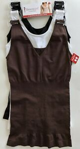 Skinnygirl Shaping Reversible Camis SMALL Pack of 3 Black White Brown S 7609
