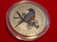 2013 25-Cent Coloured Coin American Robin - All Original Packaging and COA