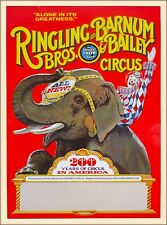 Ringling Bros Barnum & Bailey 200 Years Elephant Vintage Circus Travel Poster