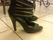 Steve Madden Black Leather Shoes Heels Boots Zipper Unique Size 7 WORE IT ONCE