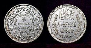 Tunisia 5 francs 1939  BU, silver, kingdom
