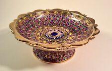 Cloisonné Byzantine Style Polychrome Enameled & Gilt Porcelain Footed Compote