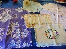 lo=5piéces = napperons brodés main +housse coussin style asiatique  bleu