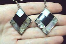 pink Paua abalone shell + black striped white diamond silver dangle earrings