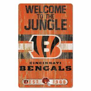 "CINCINNATI BENGALS WELCOME TO THE JUNGLE EST. 1968 WOOD SIGN 11""X17'' WINCRAFT"