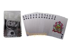 Silver Playing Cards Foil Plated Full Deck Poker $100 Bill Benjamin Franklin #3