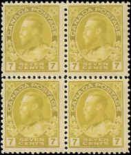 Mint H/NH Canada F+ Block 7c1916 Scott #113iii King George V Admiral Stamps