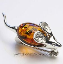GENUINE BALTIC AMBER 925 STERLING SILVER MOUSE BROOCH