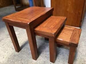 American Oak HARDWOOD LUXURY HIGH END QUALITY 3 PCE NEST TABLE