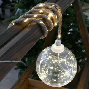 LED Weihnachtskugel beleuchtet Ø 20cm groß am Seil Weihnachtsbeleuchtung