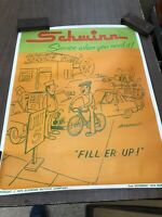 Vintage Original Schwinn Service when you need it cartoon Advertising Poster EX+