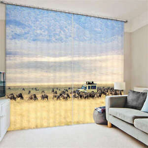 Farm Cattle Grass 3D Blockout Photo Curtain Print Curtains Drape Fabric Window
