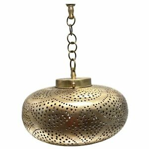 Gold Brass Moroccan Wide Round Hanging Pendant Light - Hand-Cut Metal