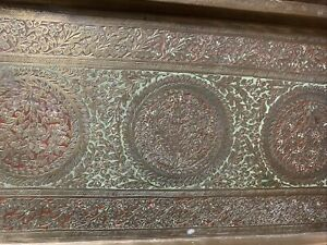 antique india brass benares meena tray art etched inlay 1075c-20x8 Colored