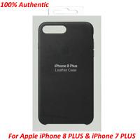 Original Apple iPhone 7 Plus iPhone 8 Plus Leather Case Snap Cover Black OEM New