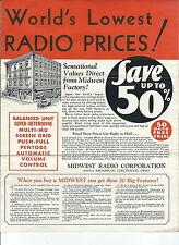Mc-219 - 1920's-30's Midwest Cabinet Radio Sales Brochure, Illustrated Vintage