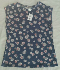 Floral Dream blue pink stretch top NEW & TAG size 10 womens -basic pretty blouse