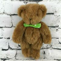 Vermont Teddy Bear Plush Brown Classic Jointed Green Bow-Tie Stuffed Animal Toy