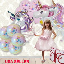 Laser Unicorn Foil Latex Balloons Bouquet, Girls Party Decoration Supplies Lot